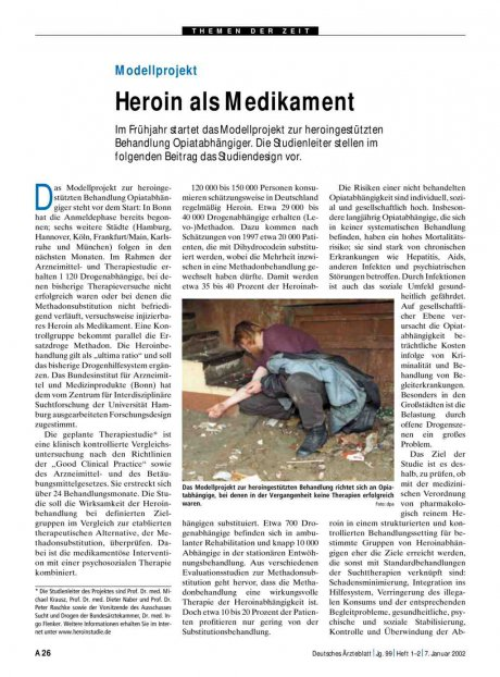 Modellprojekt: Heroin als Medikament