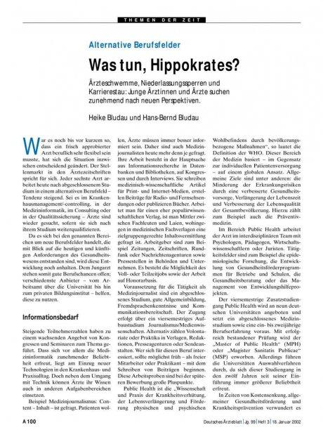 Alternative Berufsfelder: Was tun, Hippokrates?