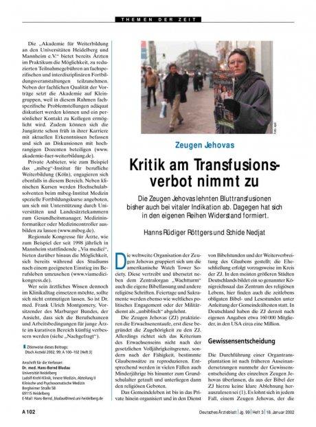 Zeugen Jehovas: Kritik am Transfusionsverbot nimmt zu