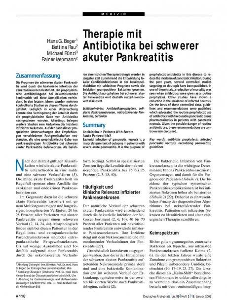 Therapie mit Antibiotika bei schwerer akuter Pankreatitis