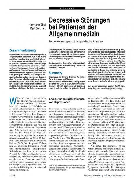 Depressive Störungen bei Patienten der Allgemeinmedizin: Früherkennung und therapeutische Ansätze