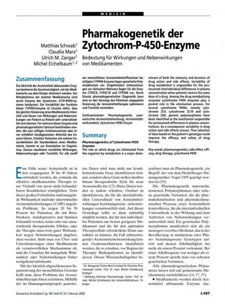 Pharmakogenetik der Zytochrom-P-450-Enzyme: Bedeutung für Wirkungen und Nebenwirkungen von Medikamenten