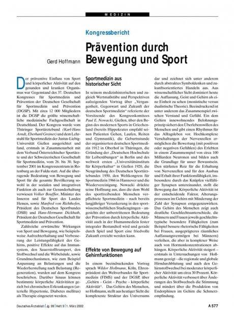 Kongressbericht: Prävention durch Bewegung und Sport