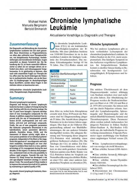 Chronische lymphatische Leukämie: Aktualisierte Vorschläge zu Diagnostik und Therapie