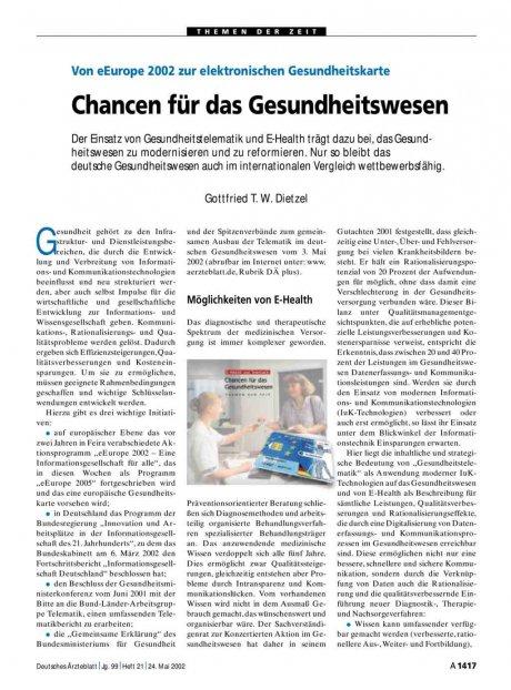 Von eEurope 2002 zur elektronischen Gesundheitskarte: Chancen für das Gesundheitswesen