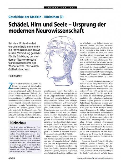 Geschichte der Medizin – Rückschau (3): Schädel, Hirn und Seele – Ursprung der modernen Neurowissenschaft