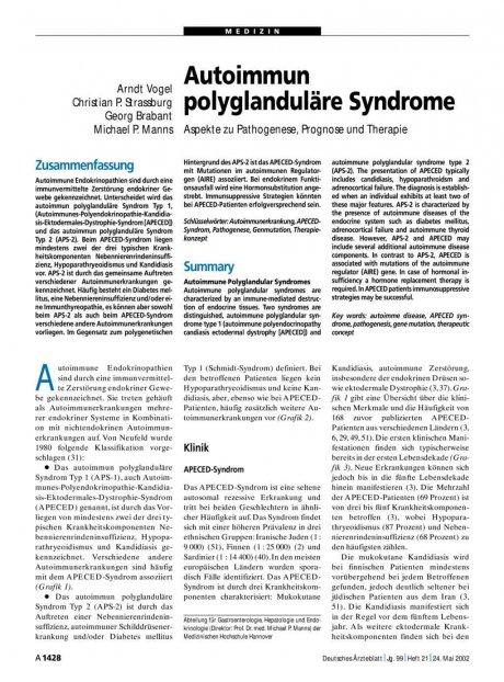 Autoimmun polyglanduläre Syndrome: Aspekte zu Pathogenese, Prognose und Therapie