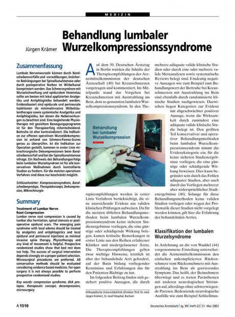 Behandlung lumbaler Wurzelkompressionssyndrome