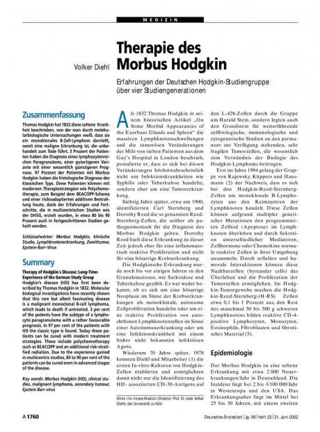 Therapie des Morbus Hodgkin: Erfahrungen der Deutschen Hodgkin-Studiengruppe über vier Studiengenerationen