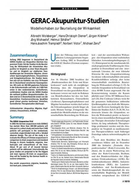 GERAC-Akupunktur-Studien: Modellvorhaben zur Beurteilung der Wirksamkeit