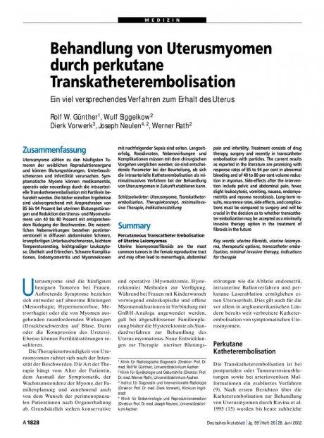 Behandlung von Uterusmyomen durch perkutane Transkatheterembolisation: Ein viel versprechendes Verfahren zum Erhalt des Uterus