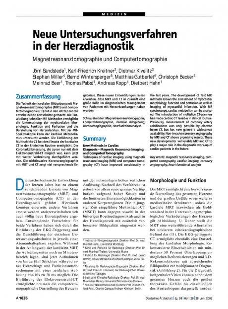 Neue Untersuchungsverfahren in der Herzdiagnostik: Magnetresonanztomographie und Computertomographie