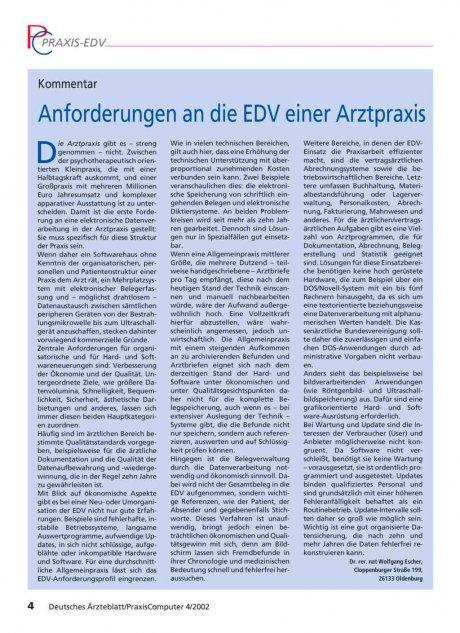 Kommentar: Anforderungen an die EDV einer Arztpraxis