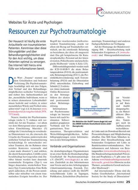Websites für Ärzte und Psychologen: Ressourcen zur Psychotraumatologie