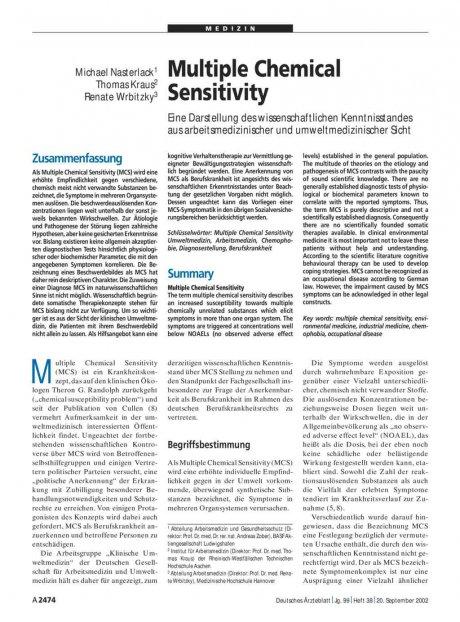 Multiple Chemical Sensitivity: Eine Darstellung des wissenschaftlichen Kenntnisstandes aus arbeitsmedizinischer und umweltmedizinischer Sicht