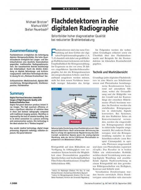 Flachdetektoren in der digitalen Radiographie: Sofortbilder hoher diagnostischer Qualität bei reduzierter Strahlenbelastung
