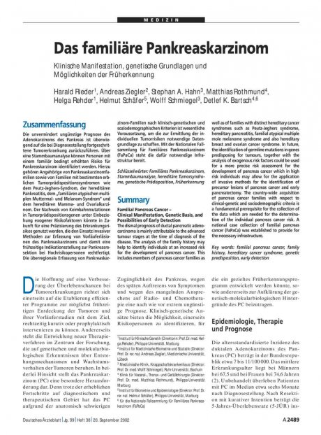 Das familiäre Pankreaskarzinom: Klinische Manifestation, genetische Grundlagen und Möglichkeiten der Früherkennung
