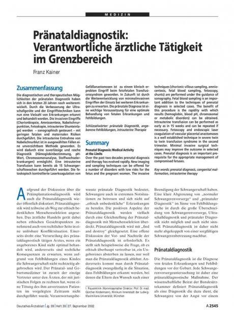 Pränataldiagnostik: Verantwortliche ärztliche Tätigkeit im Grenzbereich Franz Kainer