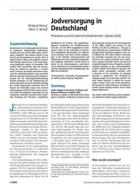 Jodversorgung in Deutschland: Probleme und erforderliche Maßnahmen - Update 2002