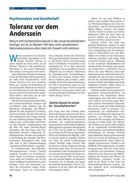 Toleranz vor dem Anderssein: Psychoanalyse und Gesellschaft