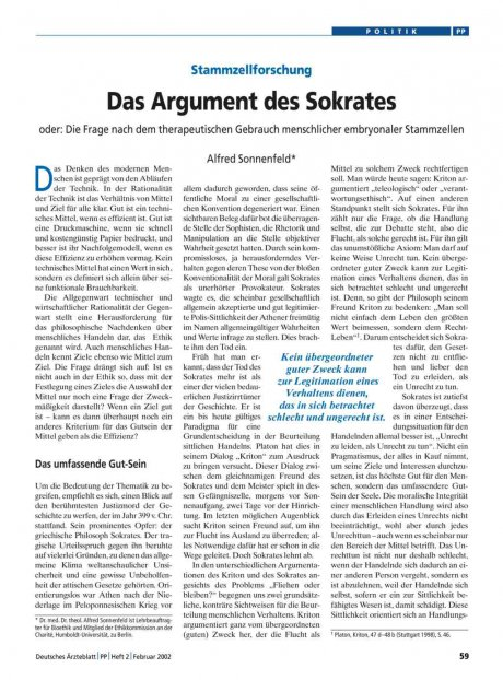 Stammzellforschung: Das Argument des Sokrates