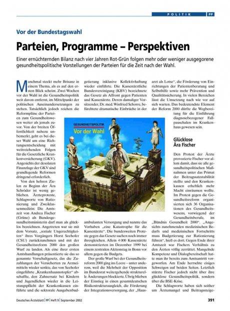 Vor der Bundestagswahl: Parteien, Programme – Perspektiven