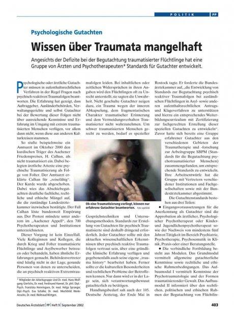 Psychologische Gutachten: Wissen über Traumata mangelhaft