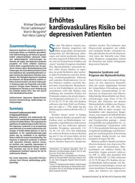 Erhöhtes kardiovaskuläres Risiko bei depressiven Patienten