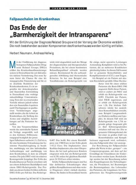 """Fallpauschalen im Krankenhaus: Das Ende der """"Barmherzigkeit der Intransparenz"""""""