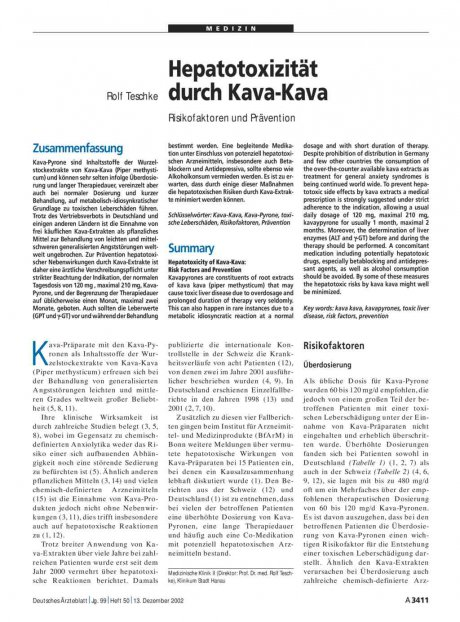 Hepatotoxizität durch Kava-Kava: Risikofaktoren und Prävention