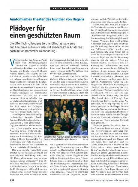 Anatomisches Theater des Gunther von Hagens: Plädoyer für einen geschützten Raum