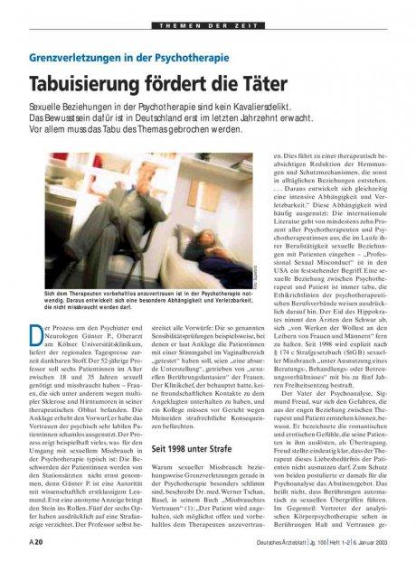 Grenzverletzungen in der Psychotherapie: Tabuisierung fördert die Täter