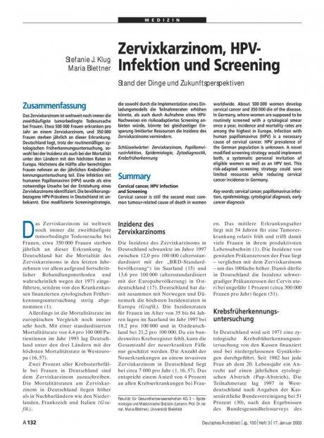 Zervixkarzinom, HPV-Infektion und Screening: Stand der Dinge und Zukunftsperspektiven