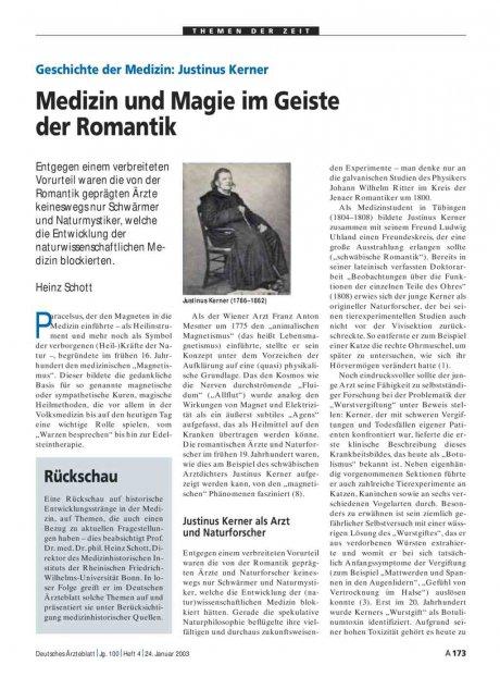 Geschichte der Medizin: Justinus Kerner – Medizin und Magie im Geiste der Romantik