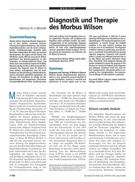 Diagnostik und Therapie des Morbus Wilson
