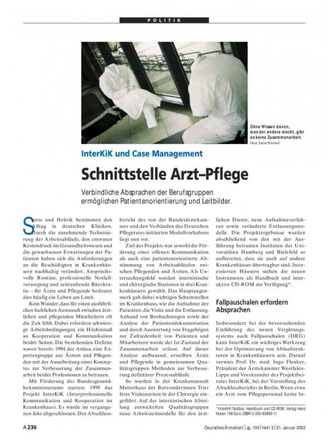 InterKiK und Case Management: Schnittstelle Arzt–Pflege