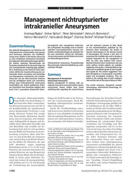 Management nichtrupturierter intrakranieller Aneurysmen