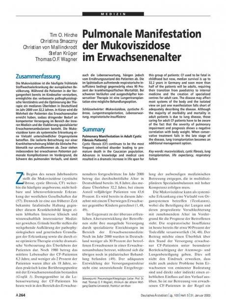 Pulmonale Manifestation der Mukoviszidose im Erwachsenenalter