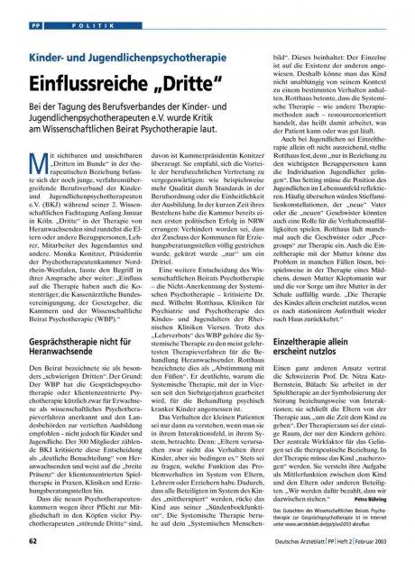 """Kinder- und Jugendlichenpsychotherapie: Einflussreiche """"Dritte"""""""