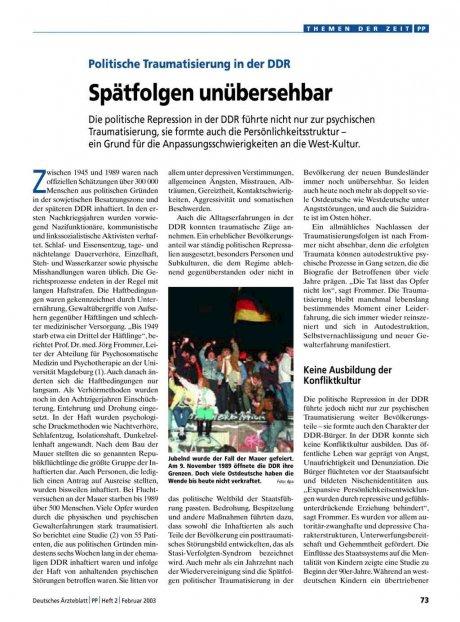 Politische Traumatisierung in der DDR: Spätfolgen unübersehbar
