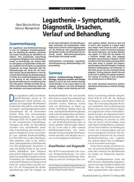 Legasthenie – Symptomatik, Diagnostik, Ursachen, Verlauf und Behandlung