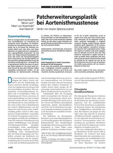 Patcherweiterungsplastik bei Aortenisthmusstenose: Gefahr von lokalen Spätaneurysmen