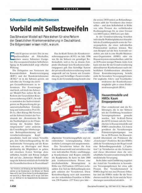 Schweizer Gesundheitswesen: Vorbild mit Selbstzweifeln