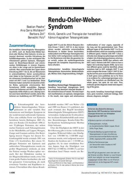 Rendu-Osler-Weber-Syndrom: Klinik, Genetik und Therapie der hereditären hämorrhagischen Teleangiektasie