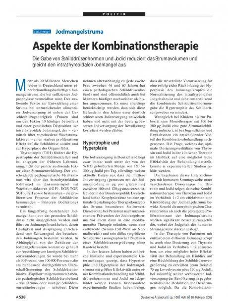 Jodmangelstruma: Aspekte der Kombinationstherapie
