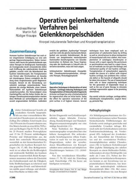 Operative gelenkerhaltende Verfahren bei Gelenkknorpelschäden: Knorpel induzierende Techniken und Knorpeltransplantation