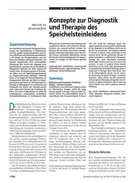 Konzepte zur Diagnostik und Therapie des Speichelsteinleidens