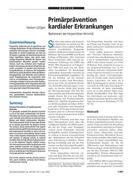 Primärprävention kardialer Erkrankungen: Stellenwert der körperlichen Aktivität