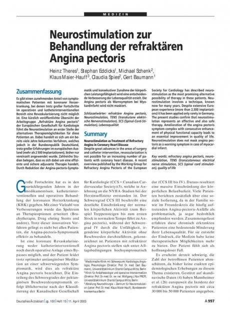 Neurostimulation zur Behandlung der refraktären Angina pectoris