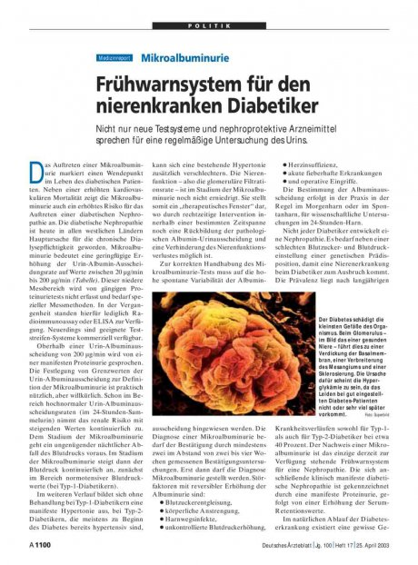 Mikroalbuminurie: Frühwarnsystem für den nierenkranken Diabetiker